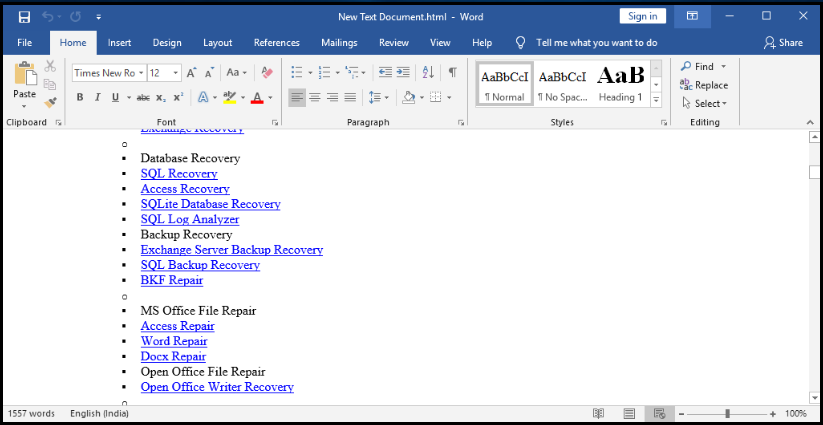 How to Recover Text from Any File In Word Document