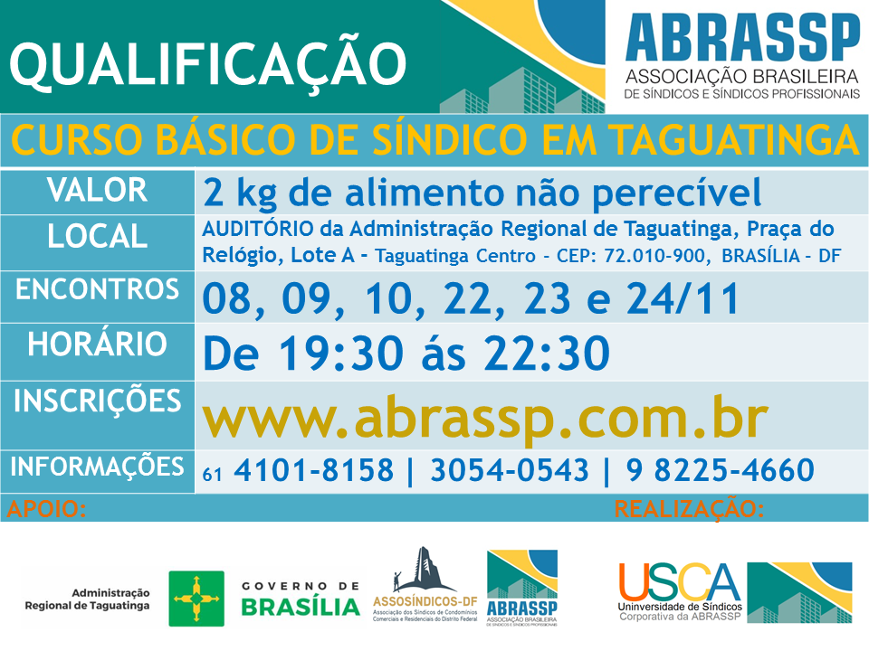 ABRASSP | ASSOSÍNDICOS-DF | SINDICONDOMÍNIO-DF