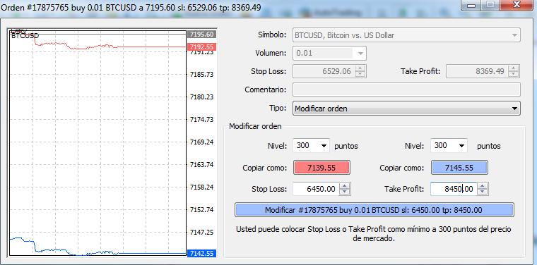 Ventana de modificación de orden en MT4. Trading de criptomonedas