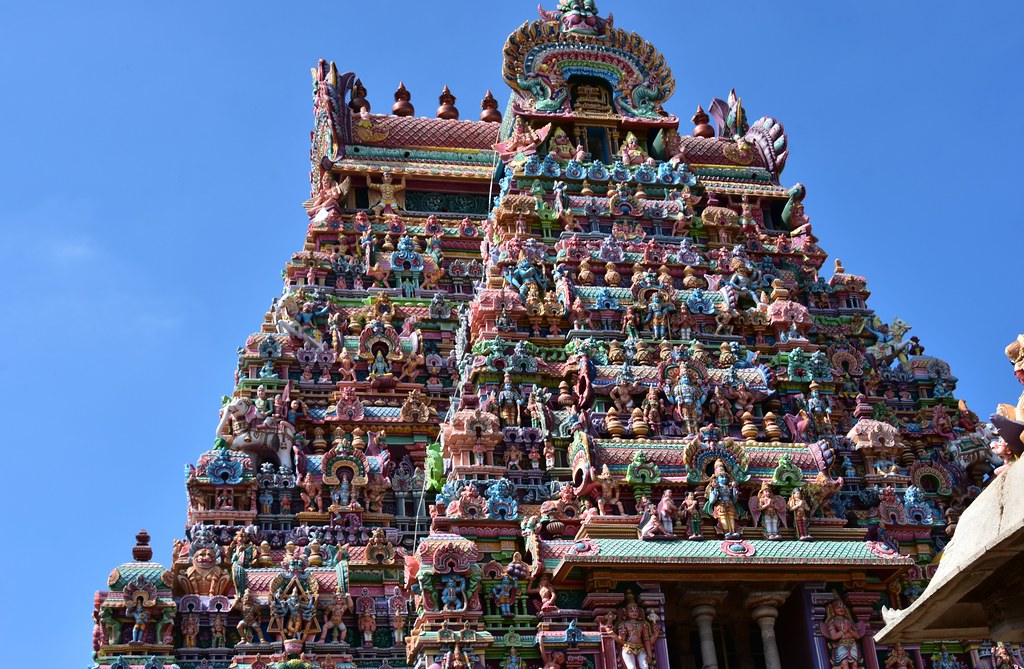 Sri ranganathaawamy Temple, dedicated to God Vishnu with amazing stone carvings sculpture of devatas on its gopurams.