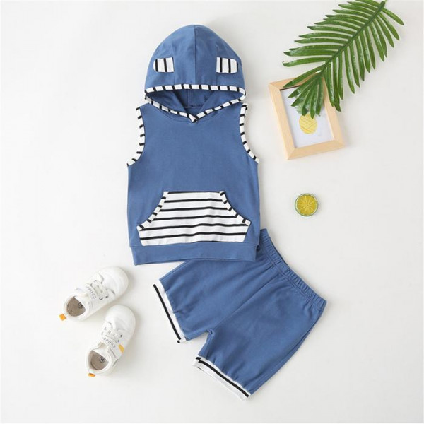 Toddler Boy Sleeveless Striped Hooded Top & Shorts