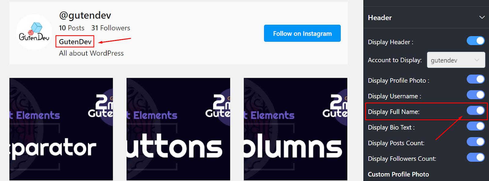 Instagram display full name