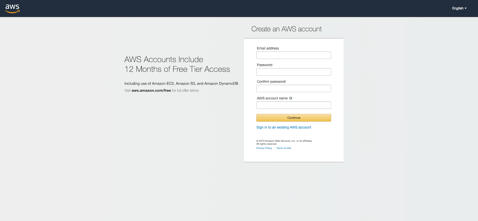 Go to AWS  SignUp page