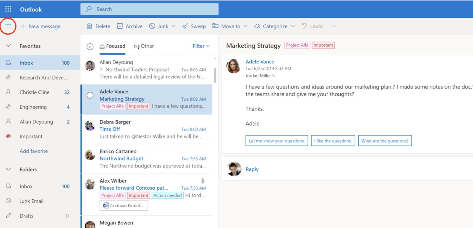 Screenshot von Outlook mit Hamburger-Icon, um Menü einzuklappen.