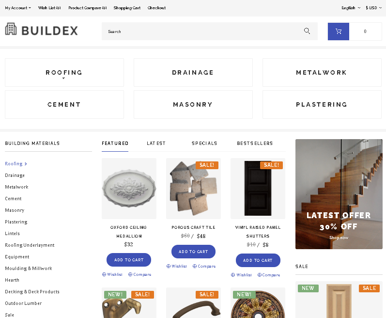 Buildex OpenCart Template building materials opencart theme