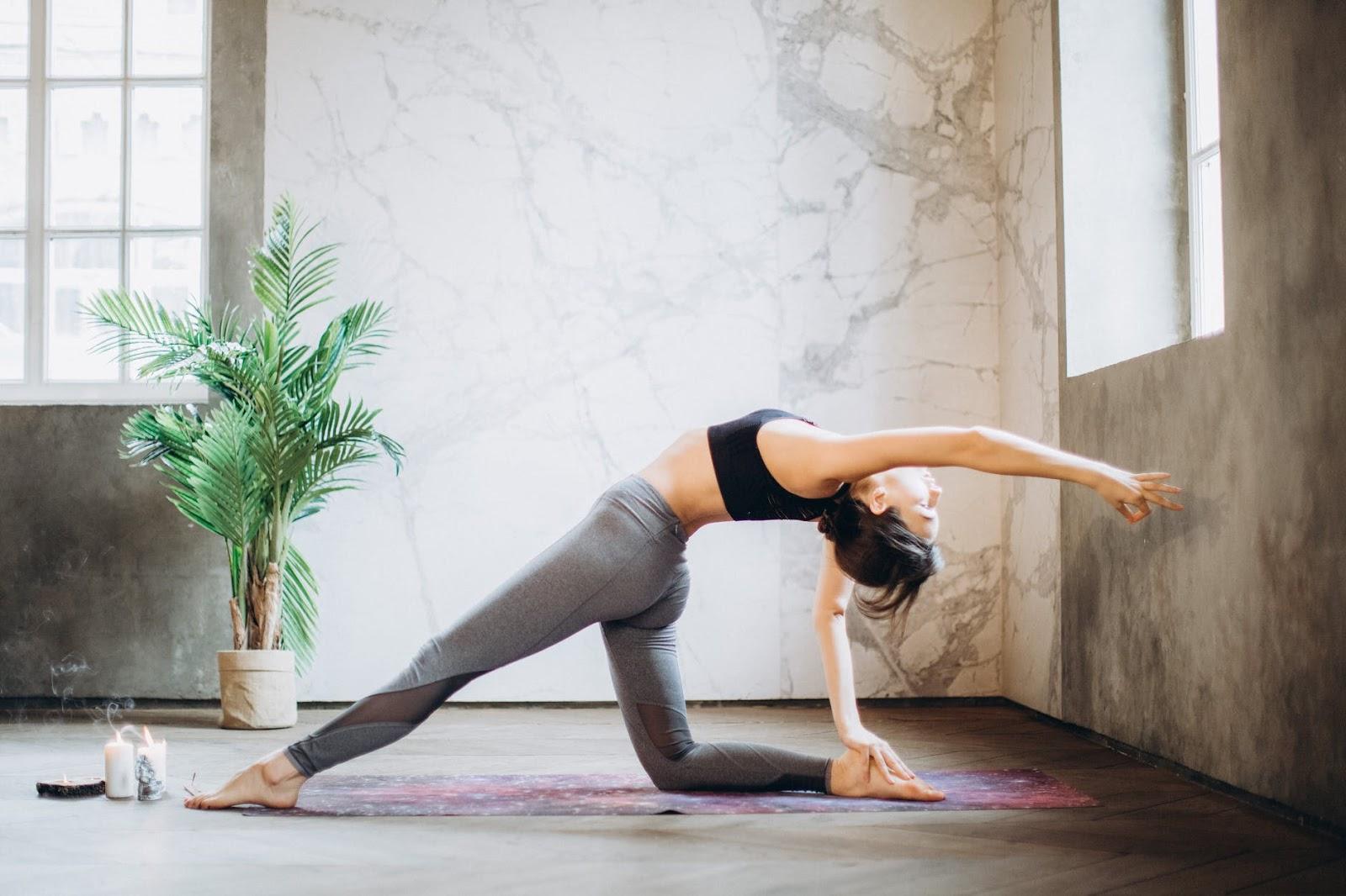 Lady practicing yoga