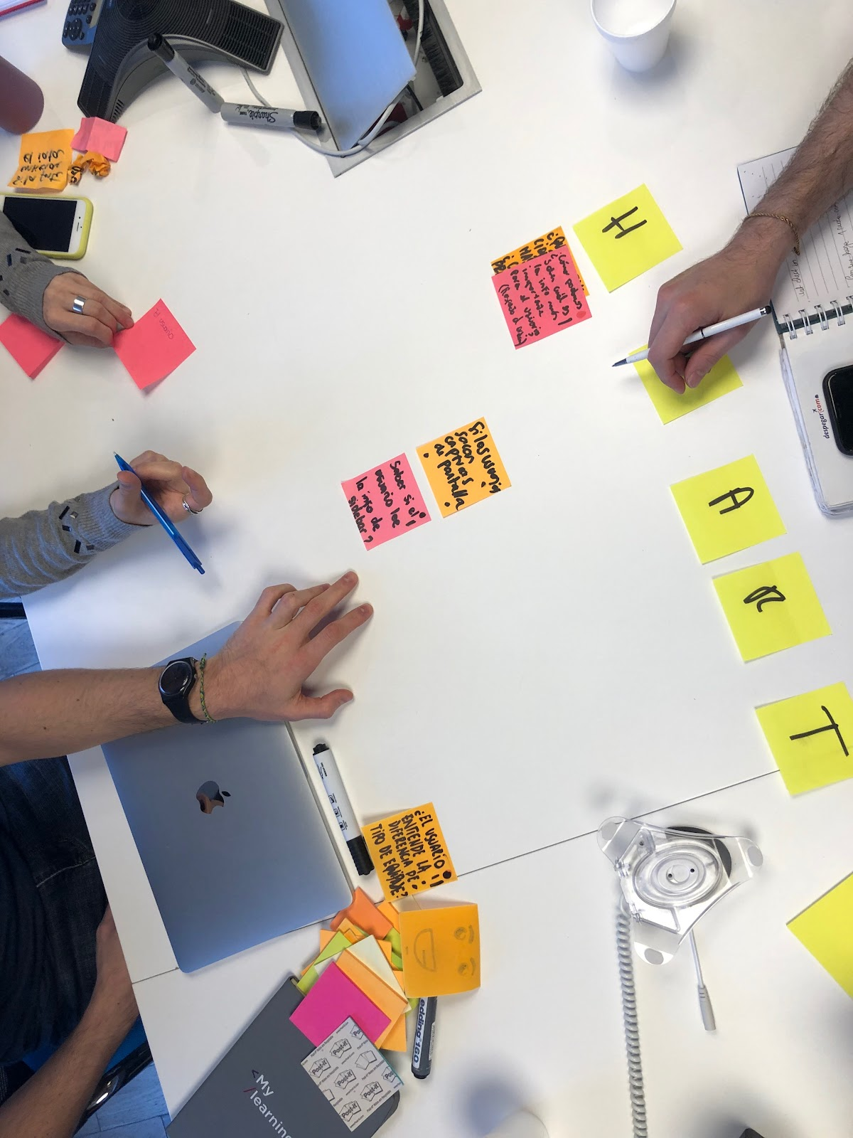 People working on post-it notes
