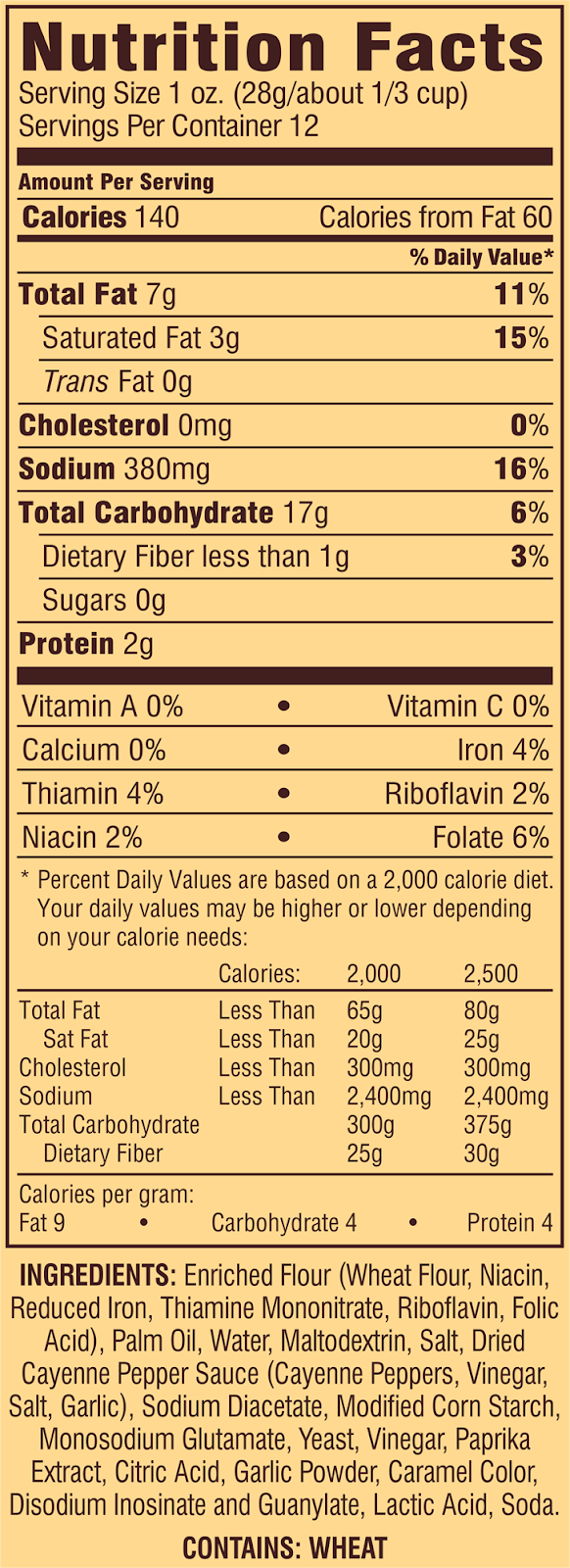Accidentally vegan snack nutrition facts for Snyders hot buffalo wing flavored pretzel pieces.