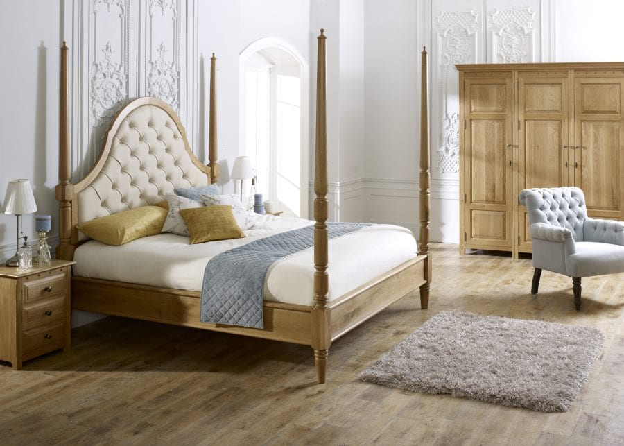 The Quebec Pencil Bed in Natural Oak with Rice Milk leather