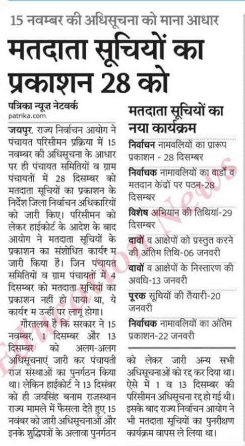Rajasthan panchayat Election 2020