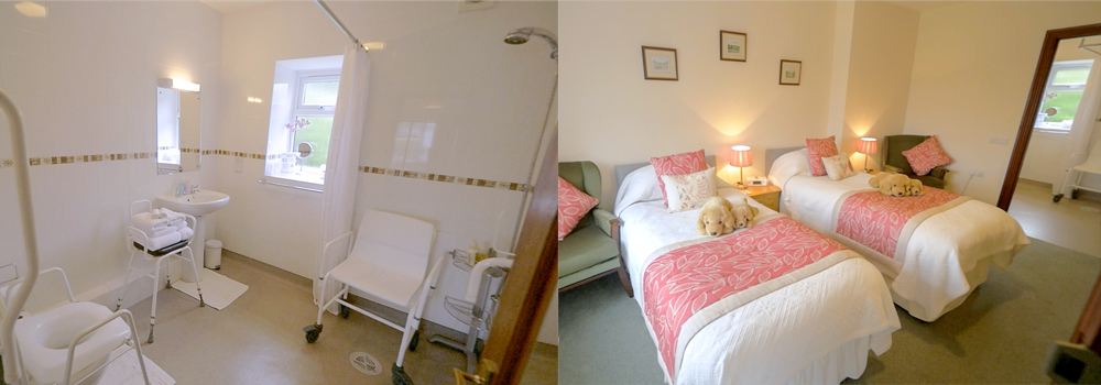 Stay in the Swallow room at West Down Guest House which is wheel chair accessible.
