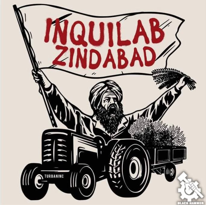 """A poster which reads """"Inquilab Zindabad"""" which means """"Long Live the Revolution"""" in Hindi."""