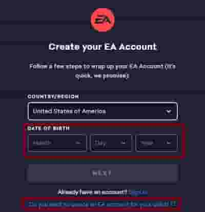 Create EA account to fix Apex Legends Error code 9999