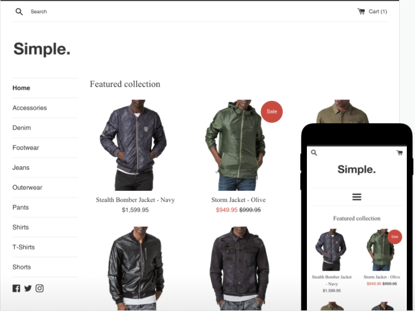 shopify free theme: Simple - Light style
