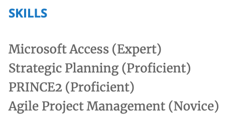 Indicate proficiency levels in your resume's skills section