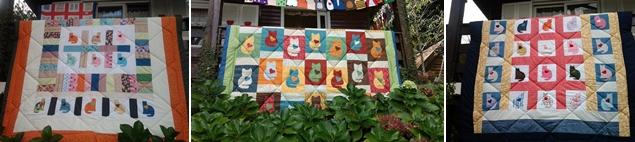 Colcha Patchwork Bordada Gatos - Cia das Mãos Patchwork Foto para ilustrar os desenhos do quilt feito para estruturar as camadas superior (trabalhada em patchwork), a fibra (sanduíche) e a parte inferior (lisa, inteira).