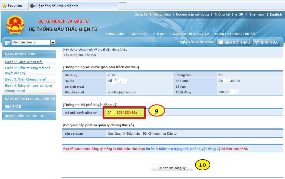 mã phê duyệt đăng ký