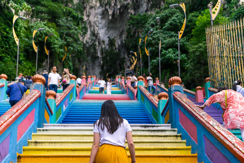 The colourful Batu Caves steps.
