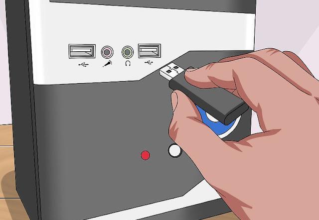 توصيل USB في الكمبيوتر
