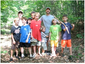 Campers learned techniques to survive in the wilderness with AR, who received training through Tom Brown programs, and Kevin a camp guide for five years and an Eagle Scout.