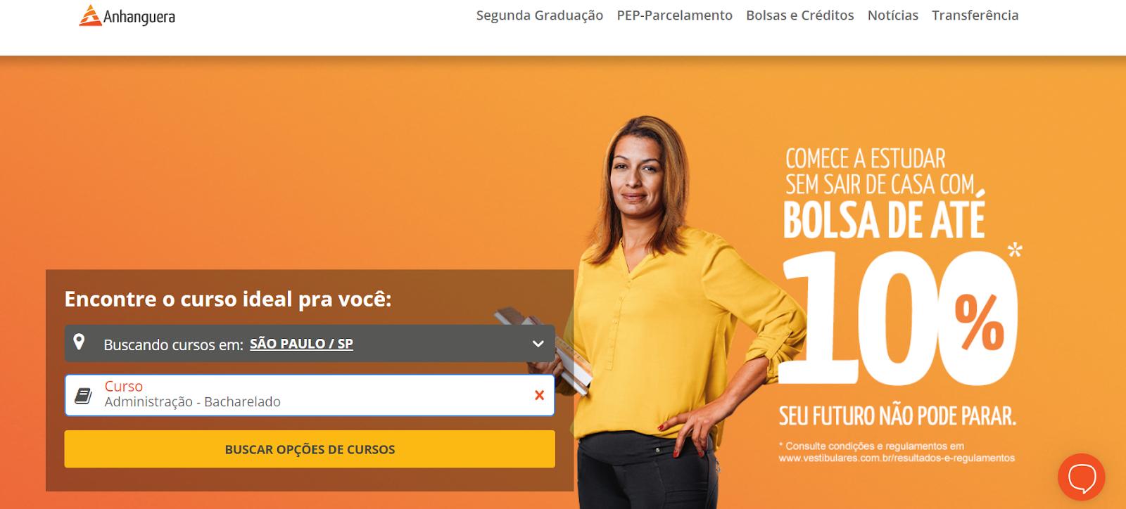 site vestibulares conferir valor curso de administração anhanguera são paulo presencial