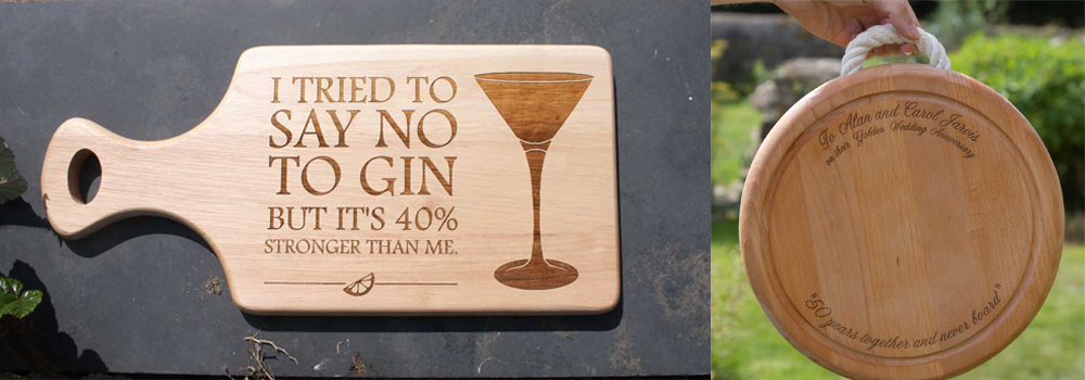 Personalised chopping boards in a range of styles.