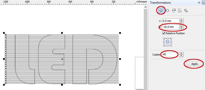 Lấy phần giao giữa những đường kẻ và chữ LED