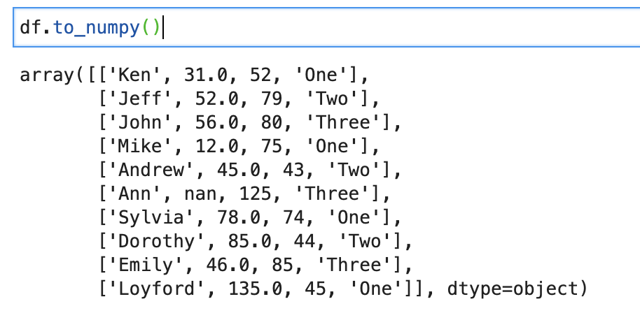 Dataframe.to_numpy() in pandas for python
