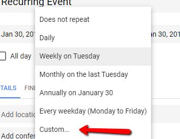 Google Calendar Custom Repeat Option