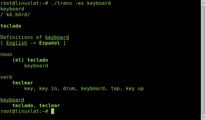 Traducir usando comandos linux