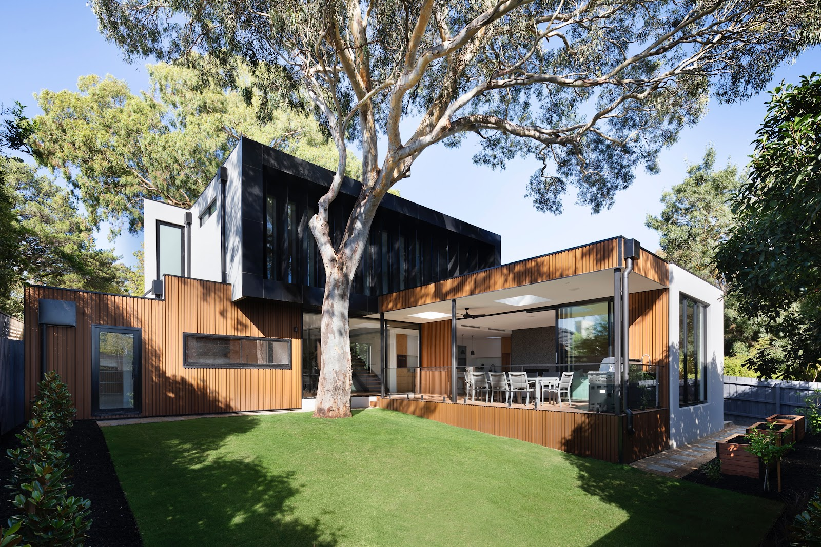 Architecturally designed house with surrounding trees