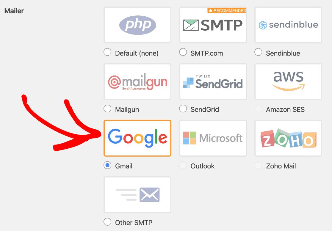 la API de Gmail (utilizada por Google mailer) no te permitirá personalizar ciertos aspectos de tus correos electrónicos, como la dirección de correo electrónico Responder a