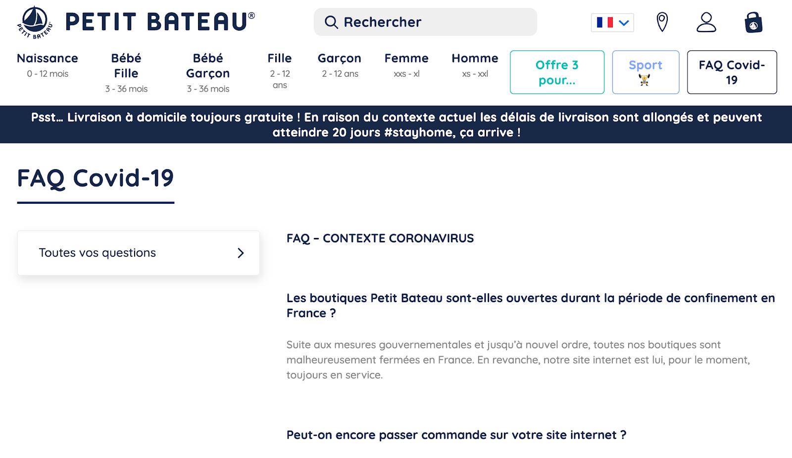 Rubrique FAQ actualisée avec le Covid19 pour la marque Petit Bateau