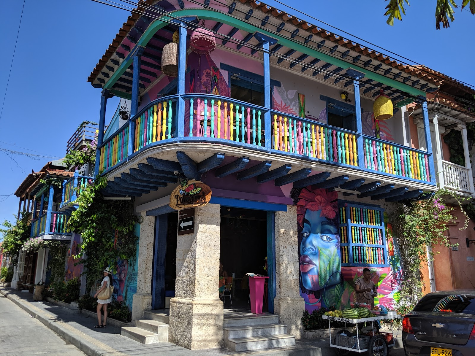 Colorful restaurant in Cartagena, Colombia.