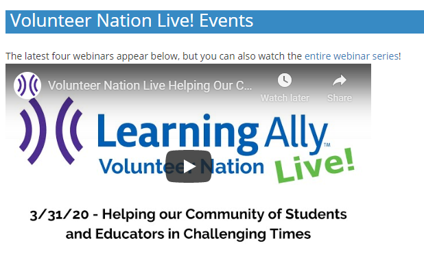 Image of Volunteer Nation Live! Events section start