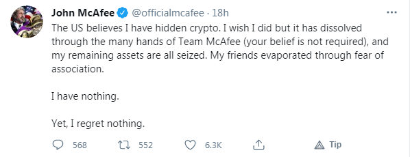 John McAfee Admits His Cryptocurrency Fortune is Gone but He Regrets Nothing 1