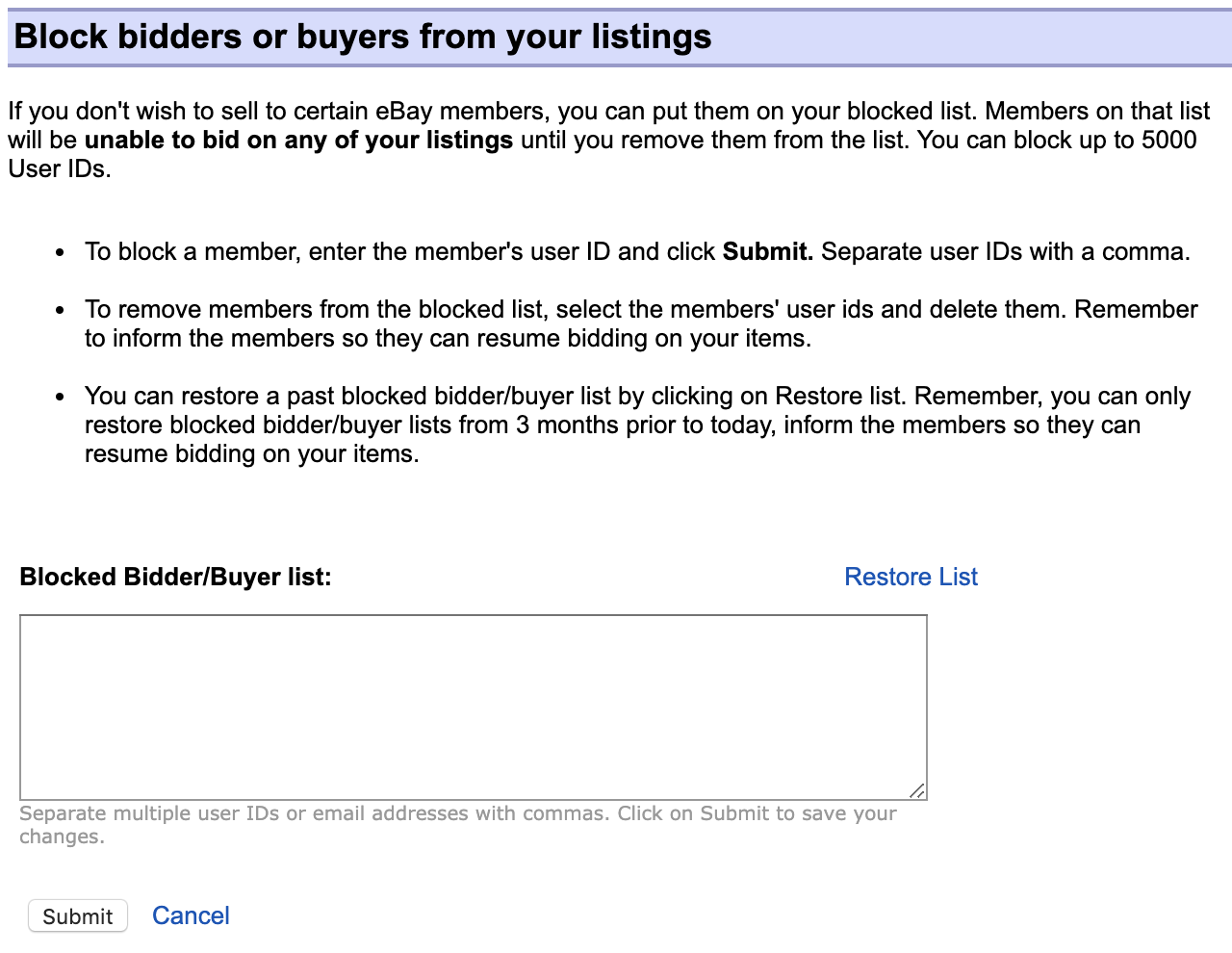 eBay block bidders or buyers page screenshot