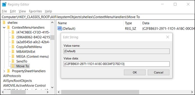 Agregar mover o copiar a carpeta en Windows 10