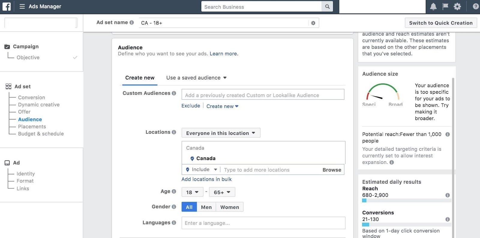 setting audiences within facebook ad sets