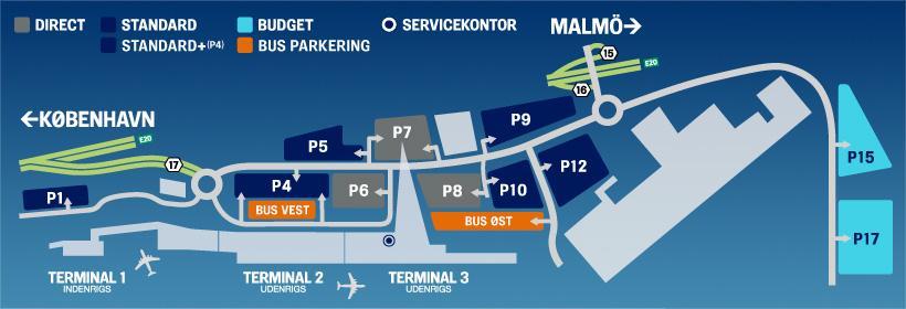 Kort over Kastrup lufthavn