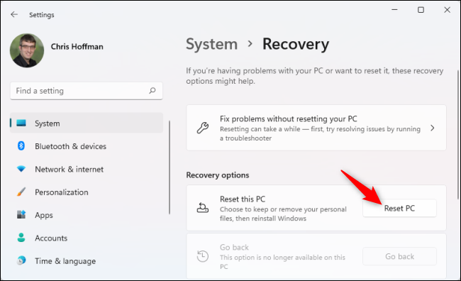 đi tới Settings > System > Recovery