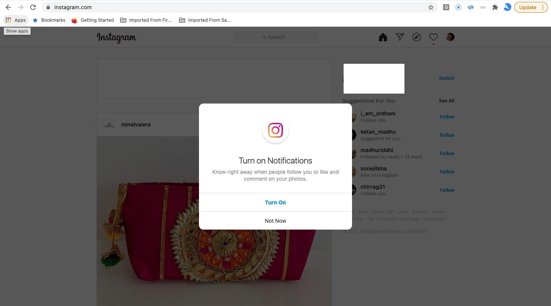 turn on notification on instagram on PC