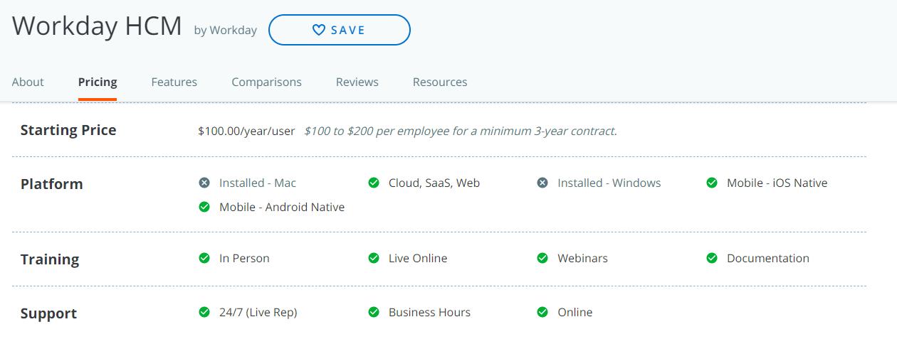 Workday Pricing- (Enterprise SaaS)