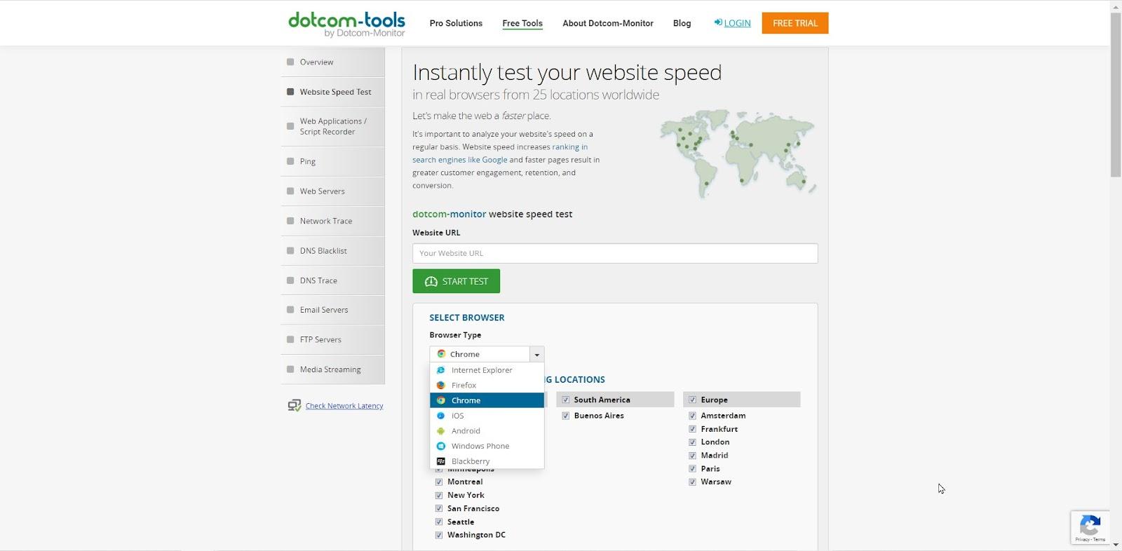 Dotcom-tools website speed test tool