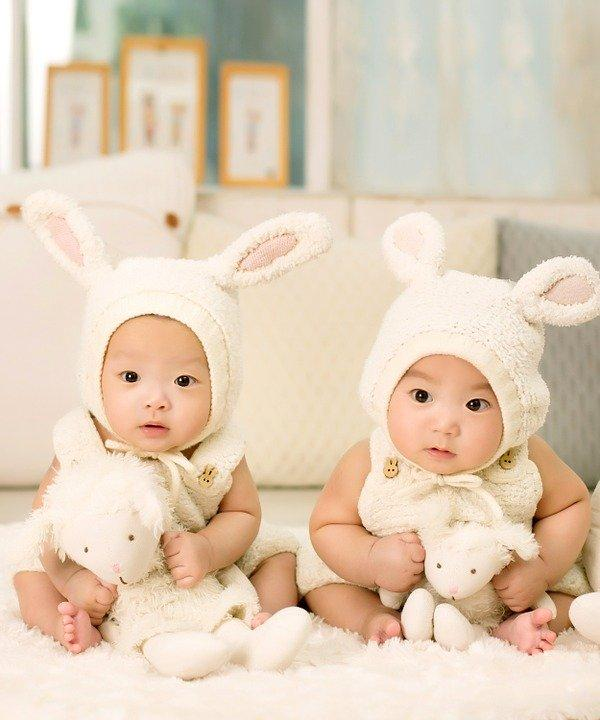Baby, Twins, Brother, Sister, Siblings, Cute, Bunny