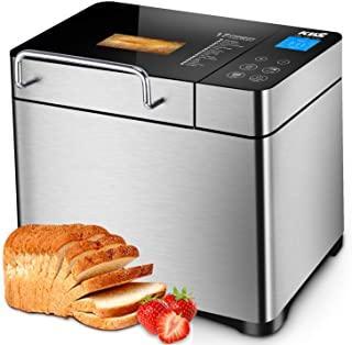KBS Stainless Steel Bread Machine,1500W 2LB 17-in-1 Programmable XL Bread Maker with Fruit Nut Dispenser, Nonstick Ceramic...