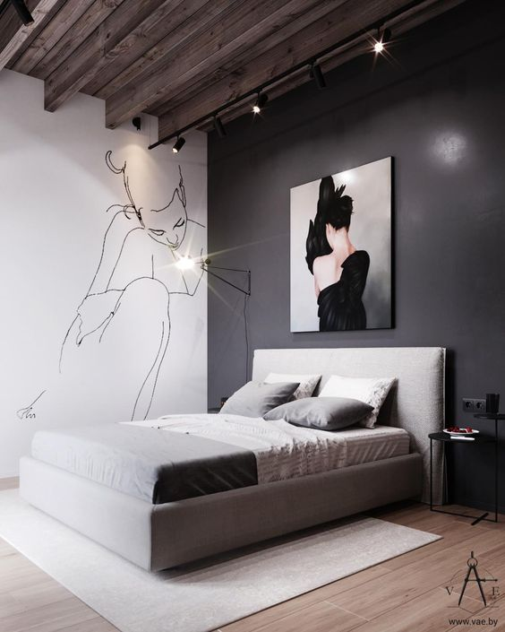 Warm Industrial Style Bedroom in White and Gray