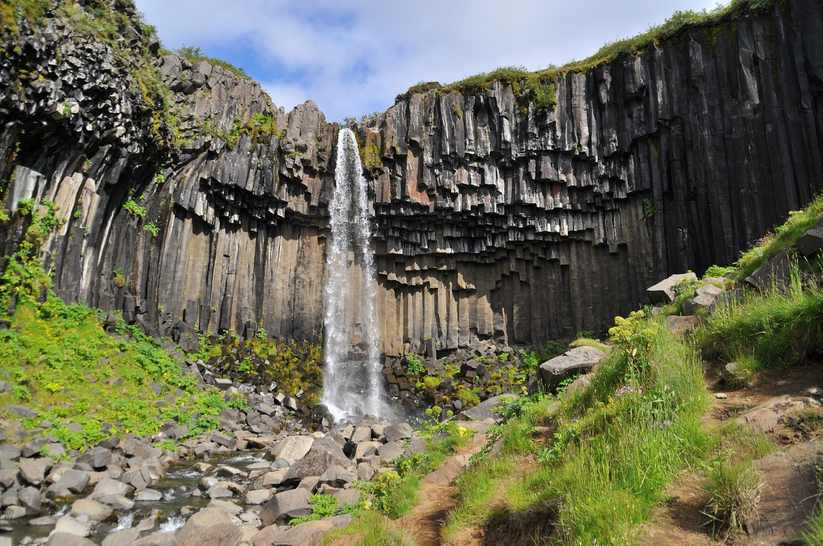 svartifoss waterfall from unique rock formation interesting cliff iceland natural beauty