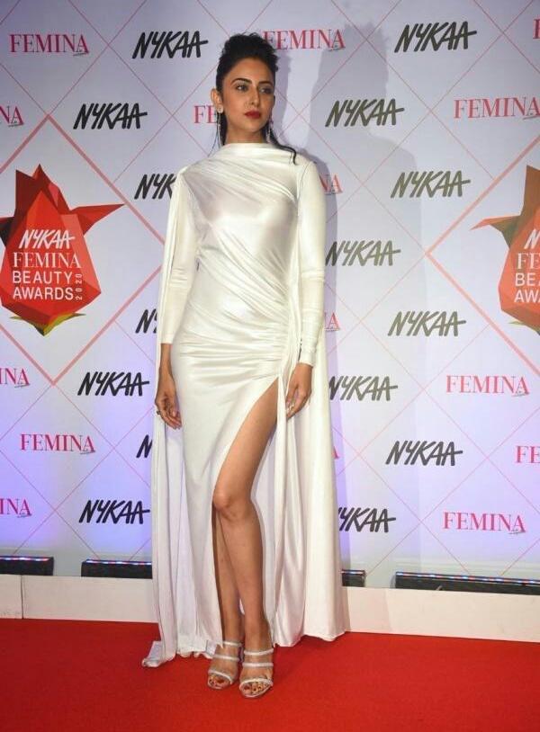 Rakul Preet Singh in white satin thigh slit gown At #Nykaa Femina Beauty Awards 2020 Navel Queens