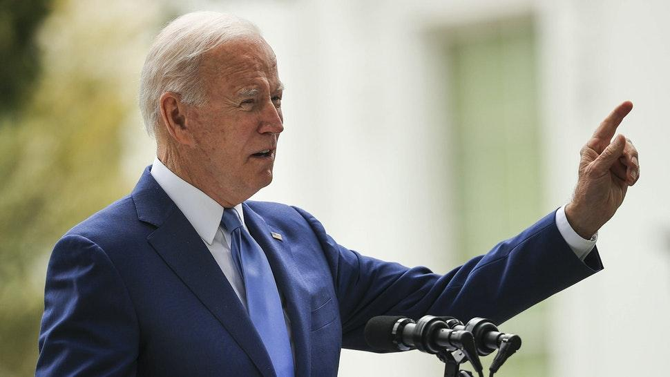 WASHINGTON, DC - OCTOBER 08: U.S. President Joe Biden announces the expansion of areas of three national monuments at the White House on October 08, 2021 in Washington, DC. The Biden administration restored the areas of two Utah parks with lands held sacred by several Native American tribes, Bears Ears National Monument and the Grand Staircase-Escalante, as well as the Northeast Canyons and Seamounts of the New England coast, after former President Donald Trump opened them to mining, drilling and development during his time in office.
